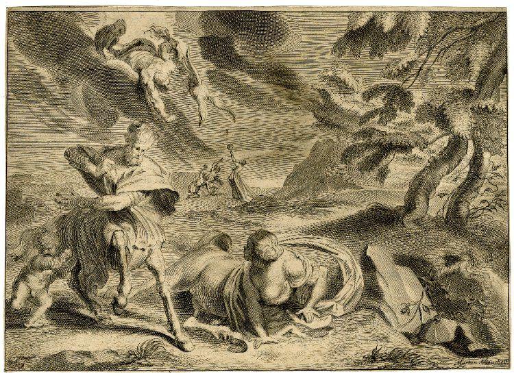 Ocirroe. Grabado de Martin Bouché. que forma parte de las ilustraciones que acompañana a  Las metamorfosis de Ovidio 1677. Vía Wikimedia Commons.