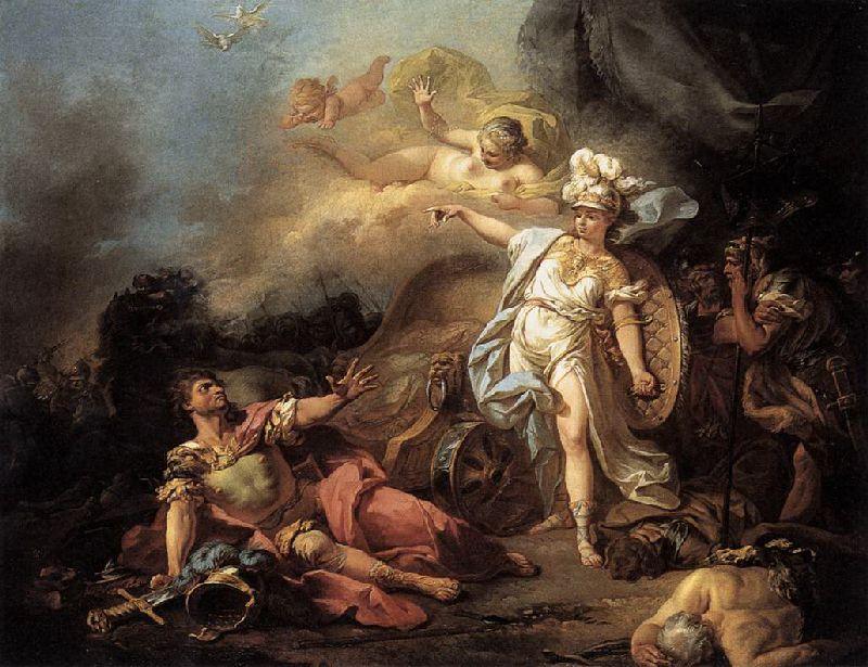 El combate de Ares y Atenea de Jacques Louis-David. Los griegos representaban a Ares como un dios violento, pero poco inteligente, por lo que en la batalla normalmente era derrotado por Atenea, la diosa de la sabiduría.