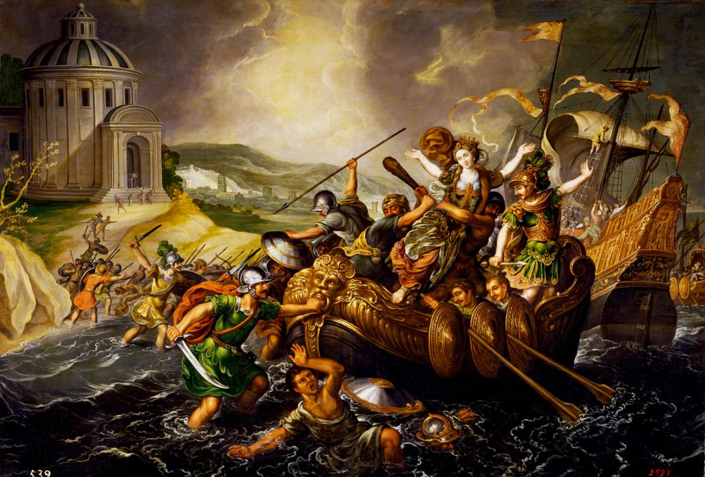 El rapto de Helena es uno de los principales eventos en el desarrollo de Guerra de Troya, este evento es recreado aquí por Juan de la Corte.