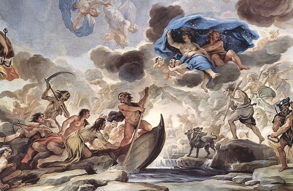 Pintura de Luca Giordano, en la que representa a la barca de Caronte, el sueño de la noche y Morfeo, parte de los frescos en la galería del Palazzo Medici-Riccardi en Florencia.