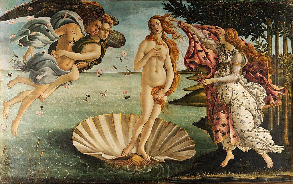 El Nacimiento de Venus. Quizá una de las pinturas más famosas de Sandro Botticelli.