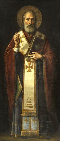 Pintura de Jaroslav Čermák, en la que se retrata a San Nicolas, el santo que posteriormente daría origen a Santa Claus.