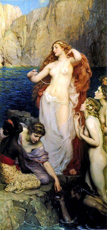 Las perlas de Afrodita. Pintura del Heber James Draper. Vía Wikimedia Commons.