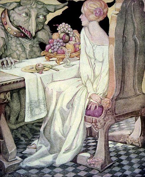 Bella y Bestia comiendo, en una pintura de Anne Anderson realizada para el libro Old Fairy Tales. Vía Wikimedia Commons.