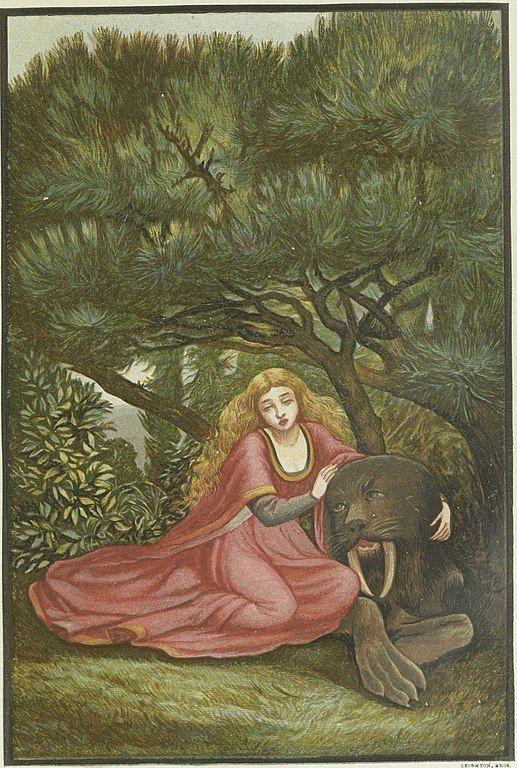 ¡Ah, querida Bestia, dijo ella; ¡Ay de que mi misericordia te mate así!. Ilustración de Eleanor Veré Boyle. Vía Wikimedia Commons.