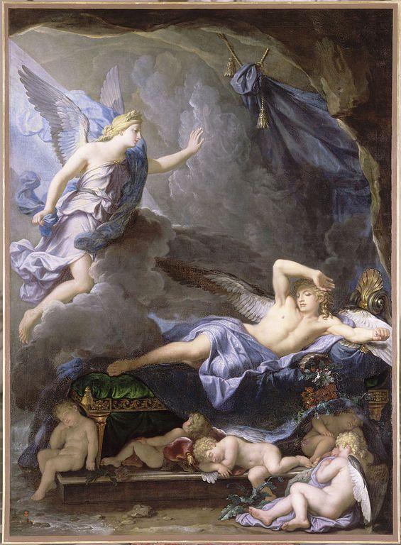 Pintura de René Antoine Houasse en la que se observa a Morfeo despertarse cuando  Iris se acerca.