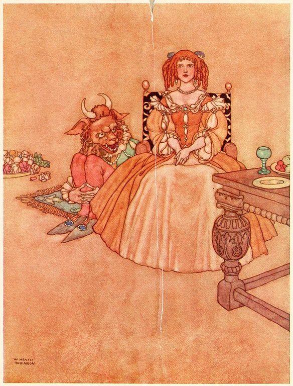 Ilustración de La Bella y la Bestia presente en Old-times Stories, publicado en 1921.