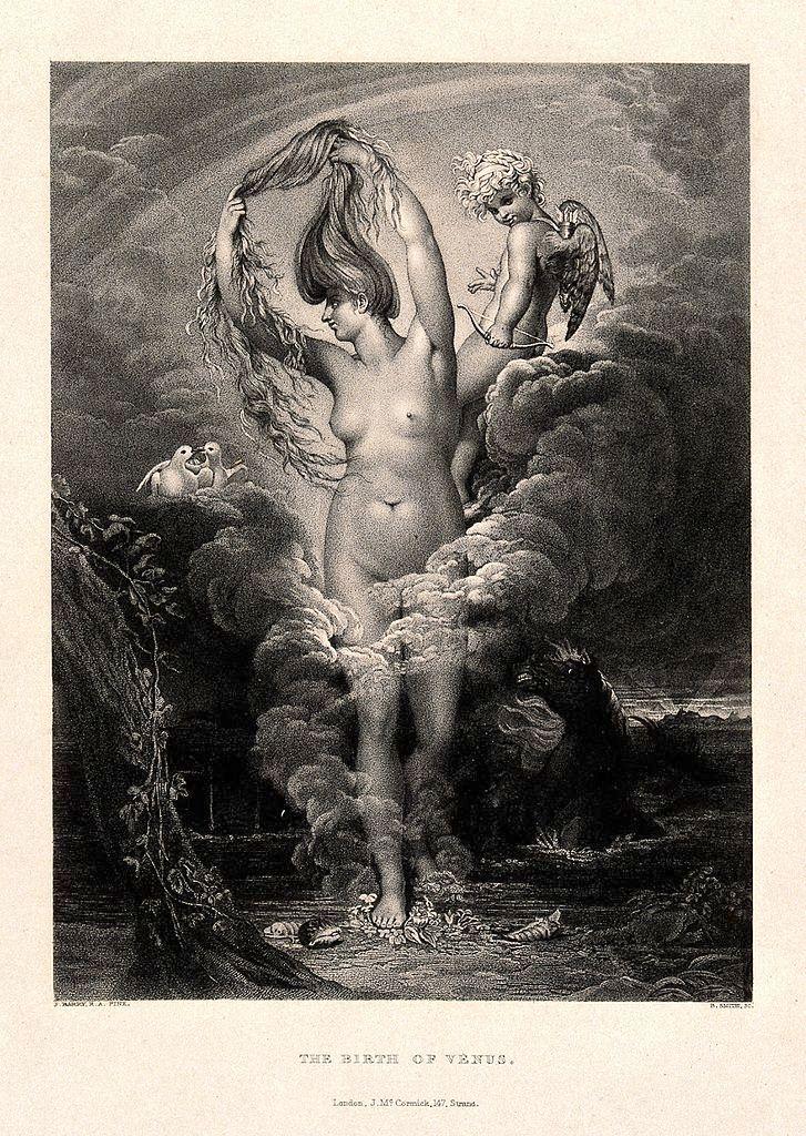 El nacimiento de Venus (Afrodita). Grabado de B. Smith. Vía Wikimedia Commons.
