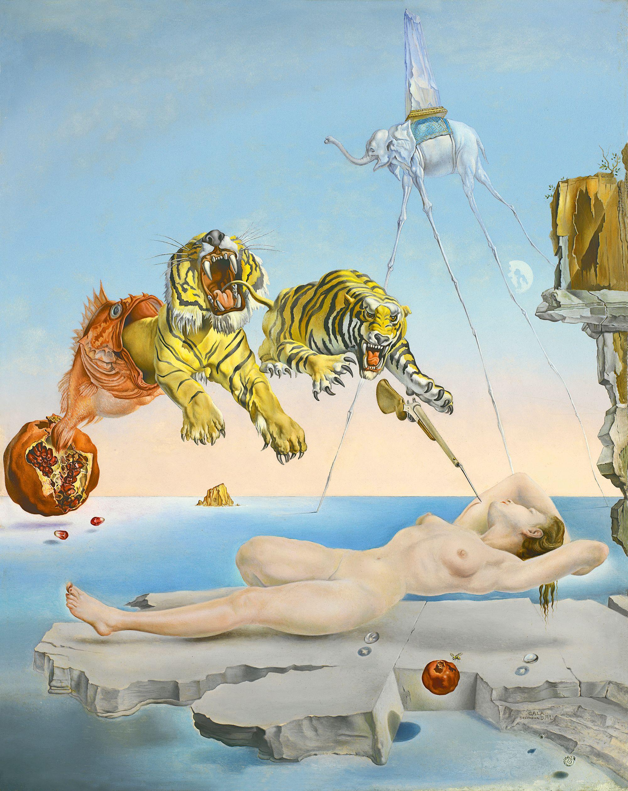 Esta pintura de Dalí titulada Sueño causado por el vuelo de una abeja alrededor de una granada un segundo antes de despertar, es un ejemplo del tipo de sueños surrealistas que según los griegos estaría producido por Fantasos. Vía Museo Thyssen.