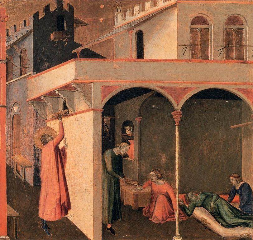 Pintura de Ambrosio Lorenzetti en la que se retratá la escena de San Nicolas tirando por la ventana la bolsa con monedas de oro.