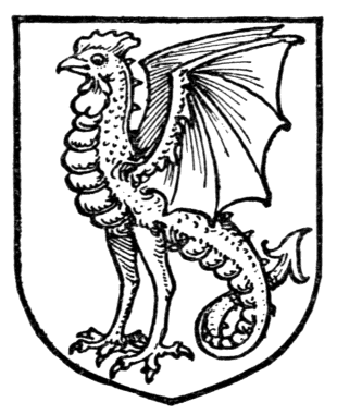 Cocatriz en un sello heráldico. Vía Wikimedia Commons.