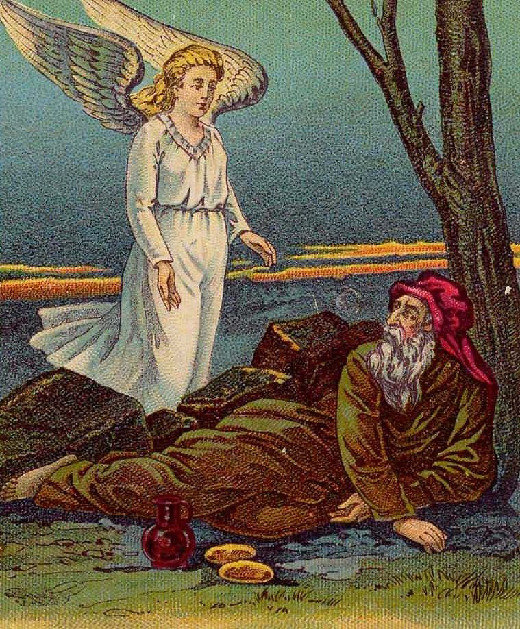 """""""Y acostándose bajo el enebro, se durmió; y he aquí, un ángel lo tocó y le dijo: Levántate, come."""" Imagen de Elias y el ángel vía Wikimedia Commons"""