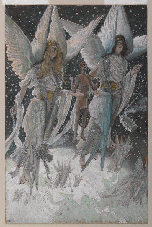 El alma del ladrone bueno de James Tissot. Tras la muerte del ladrón bueno, crucificado en el Gólgota, su alma es llevada al cielo, cumpliendo la promesa hecha por Jesús en la cruz. Con los ojos bien abiertos y maravillados, el buen ladrón flota hacia arriba, sostenido por ángeles de seis alas que llevan incensarios de perfume. Muy por debajo se ve claramente la tierra, sus continentes y mares.