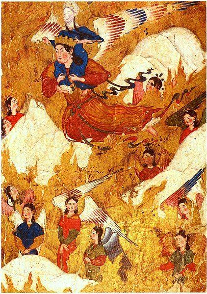 El Ángel Gabriel y Mahoma, pintura de Ahmad Musa.