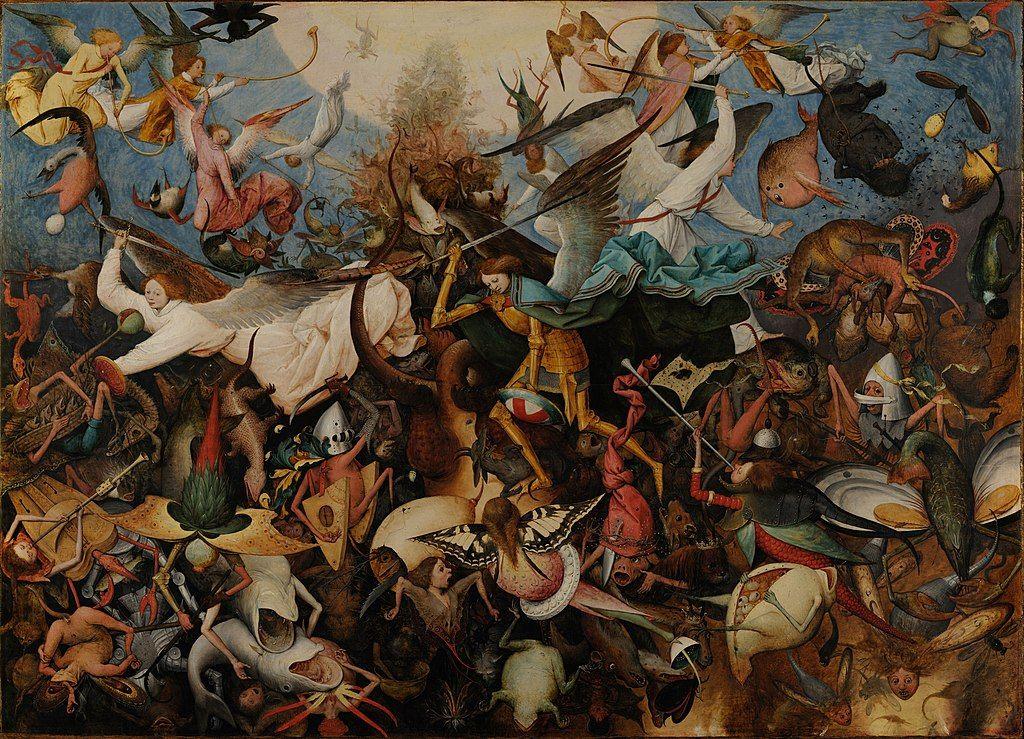 Pintura de Pieter Bruegel en la que se retrata la caída de los ángeles rebeldes.