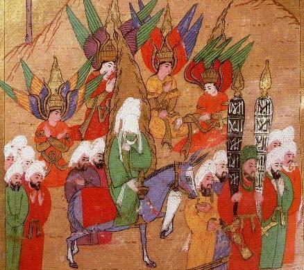 Mahoma en una peregrinación a la Meca, rodeado de los arcángeles Miguel, Gabriel, Rafael y Azrael.