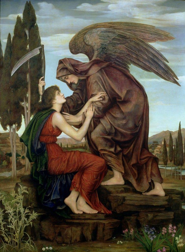 Retracto artístico del ángel de ma muerte realizado por Evelyn de Morgan en 1881. Vía Wikimedia Commons.
