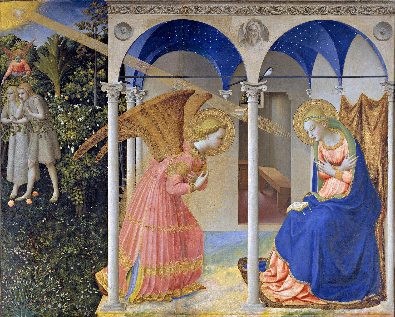 La Anunciación de Fra Angelico. Es considerada una de las obras maestras de su autor, en la pintura se puede ver el ciclo de la pérdida (Adan y Eva expulsados del Edén) y la salvación del hombre (La Anunciación de María)