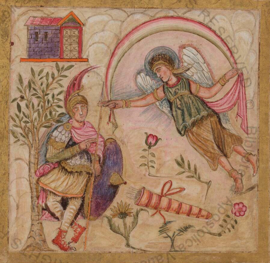 Imagen del Vergilius Romanus en el que se observa a la diosa Afrodita, apareciendo a su hijo Eneas. El documento completo constituye un manuscrito ilustrado de las obras de Virgilio y está disponible en la Biblioteca Apostólica del Vaticano.