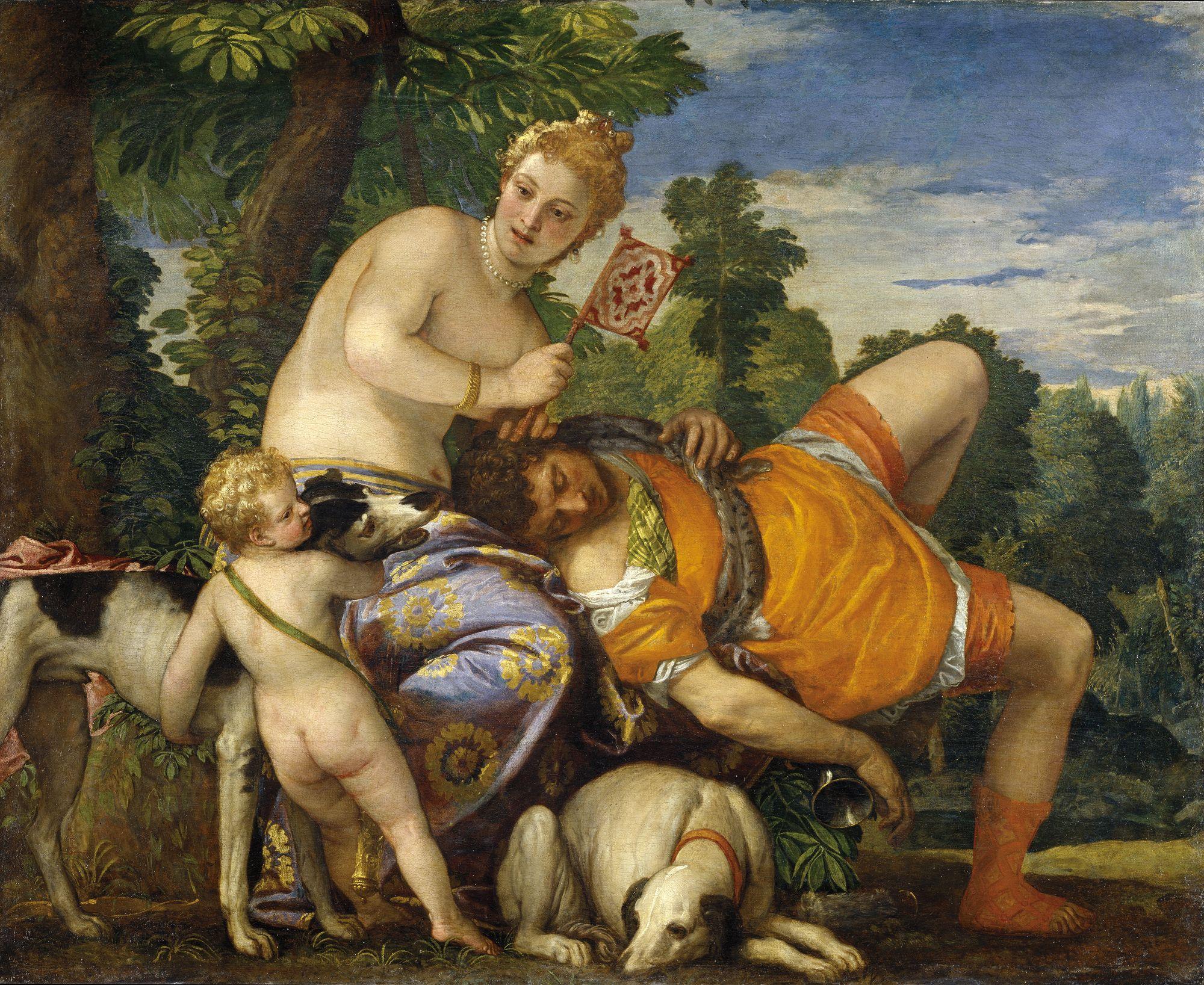 Venus y Adonis. Pintura de Paolo Veronese. 1580.