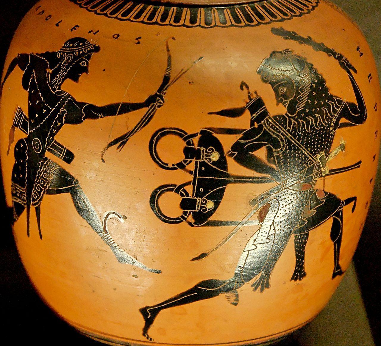 Disputa entre Heracles y Apolo por el trípode delfico en un jarrón ático.