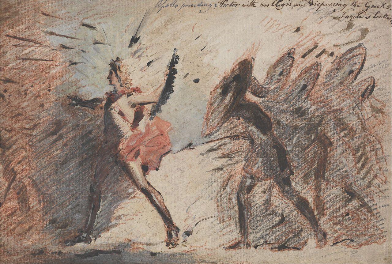 Pintura de John Flaxman en la que se muestra a Apolo delante del ejército troyano, protegiéndolo de los ataques griegos.