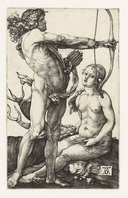 Apolo y Artemisa retratados según Alberto Durero.