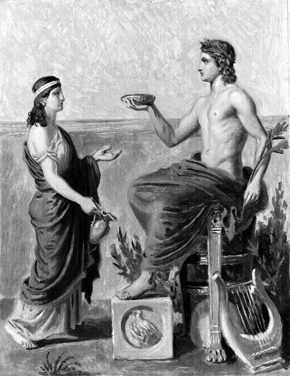 Apolo entregando información a la Pitia en un dibujo realizado por Constantin Hansen.
