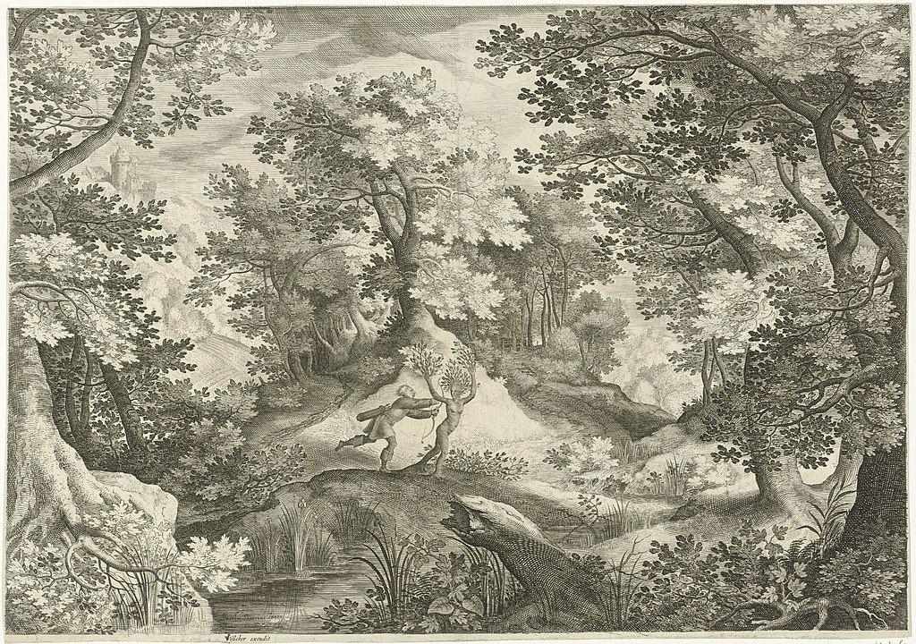 Dafne huyendo de Apolo y transformándose en árbol de laurel. Autor anónimo.