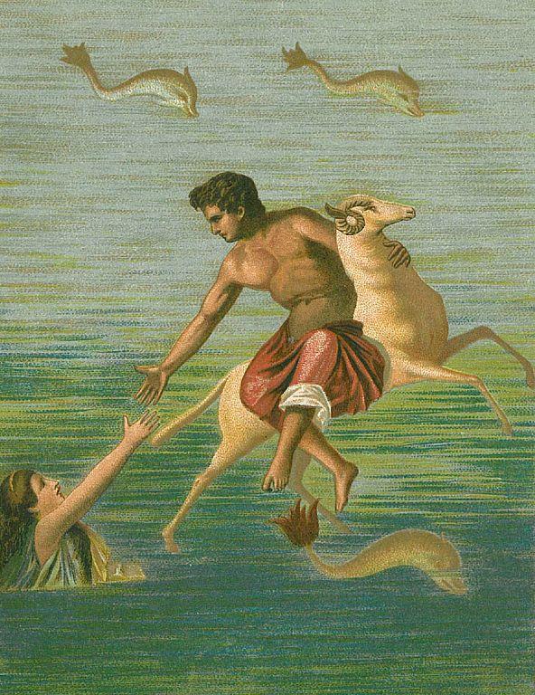 Frixo y Helé en un fresco Romano encontrado en la ciudad de Pompeya, en la imagen se muestra el instante en que Hele cae del Vellocino de Oro en el estrecho de Helesponto.