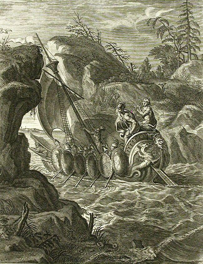 Pintura de Bernard Picart en la que se retrata el paso de los argonautas a través de las Simplégades.