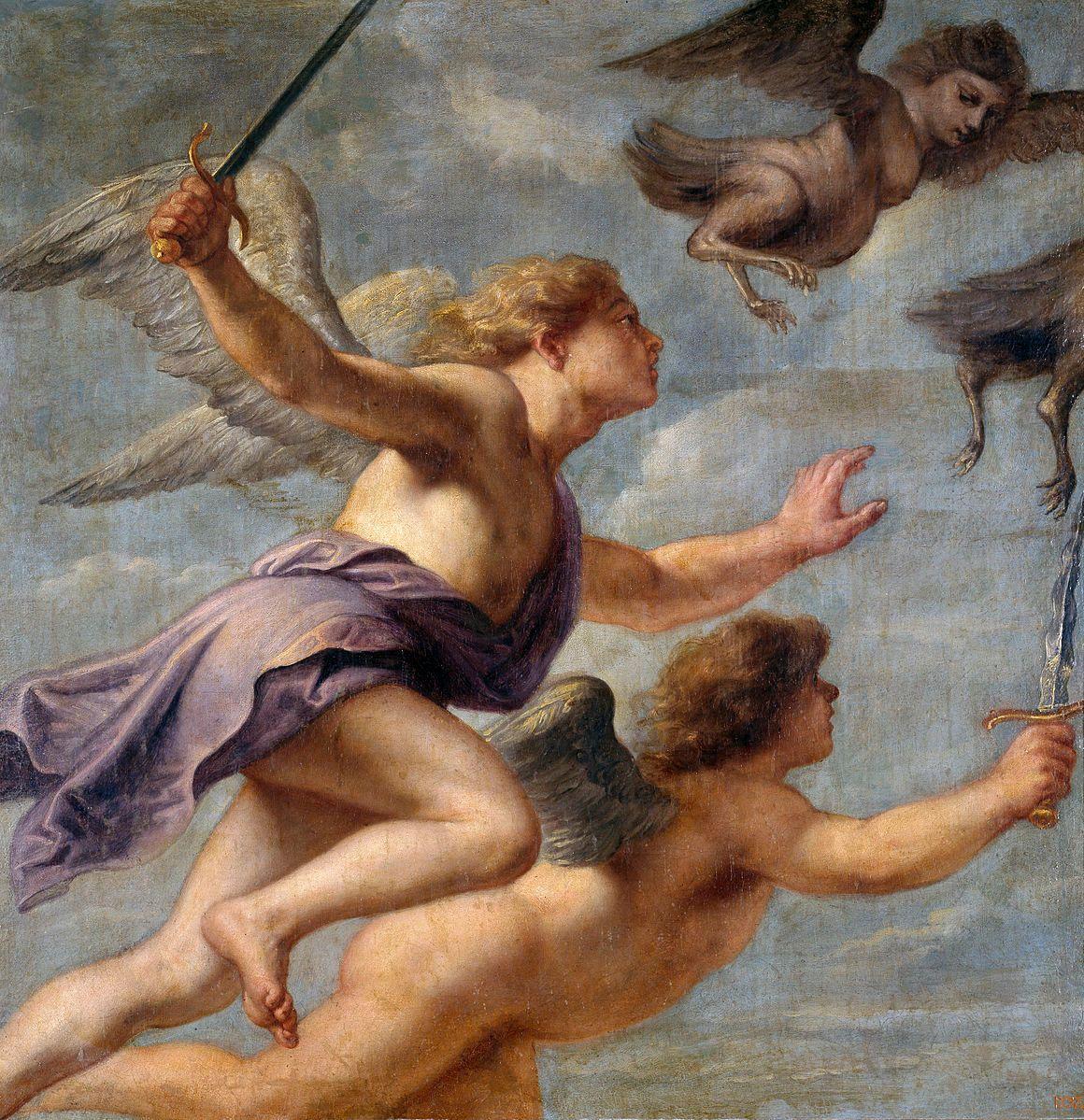 Las arpías siendo perseguidas por Calais y Zetes. Pintura de  Erasmus Quellinus.