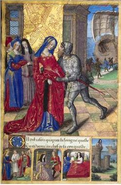 Jasón se despide Hipsípila, la reina de Lemnos, las mujeres de Lemnos. Presente en Maître de la Chronique scandaleuse.