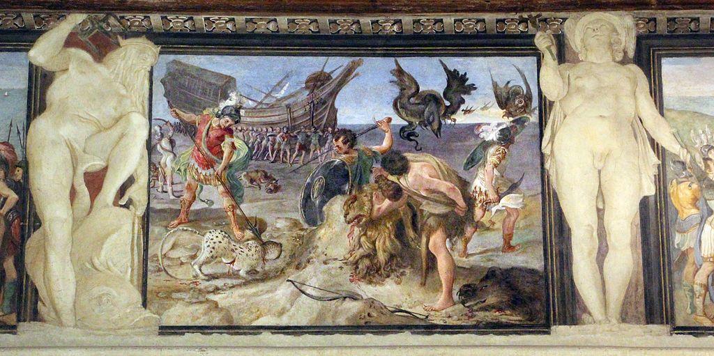 El argos cruzando el desierto. Fresco de Annibale, Agostino y Ludovico Carracci.