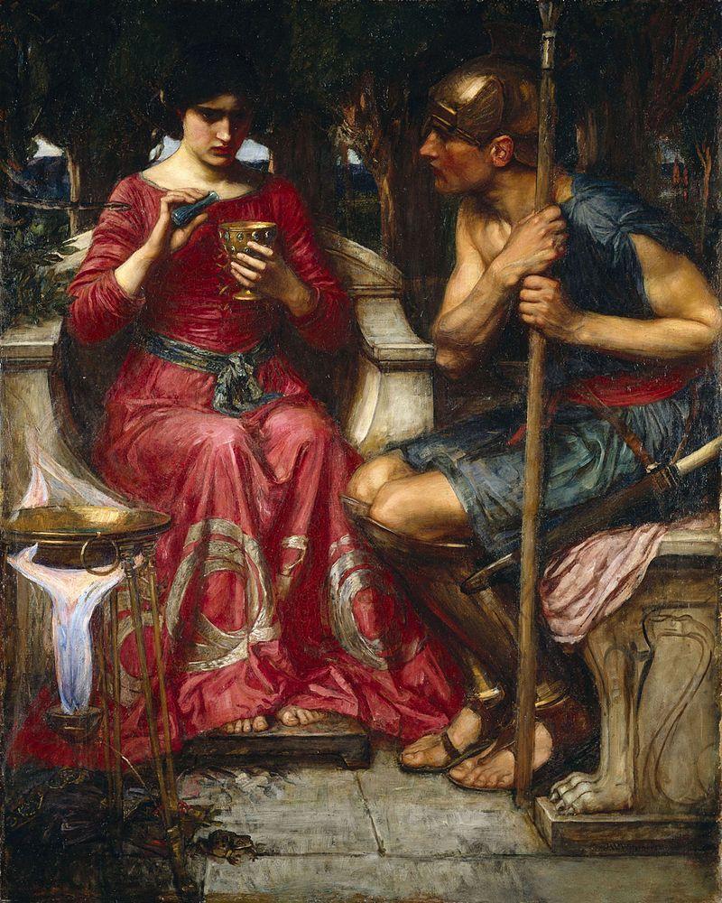Medea entregando un ungüento mágico a Jasón para cumplir con la misión que se la había encomendado pintura de John William Waterhouse.