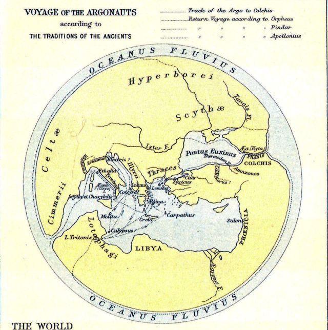 El viaje de los Argonautas segun  los antiguos griegos.