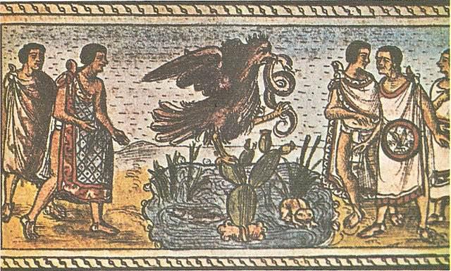 """Fundación de México-Tenochtitlan según el Códice Durán. Dominio público, <a href=""""https://commons.wikimedia.org/w/index.php?curid=1265687"""">Enlace</a>"""