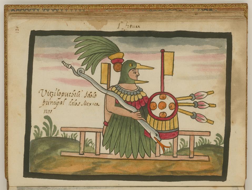 """Huitzilopochtli en el Códice Ramirez De Tovar, Juan de, circa 1546-circa 1626 - <a rel=""""nofollow"""" class=""""external free"""" href=""""http://dl.wdl.org/6725.png"""">http://dl.wdl.org/6725.png</a>Gallery: <a rel=""""nofollow"""" class=""""external free"""" href=""""http://www.wdl.org/en/item/6725/"""">http://www.wdl.org/en/item/6725/</a>, Dominio público, <a href=""""https://commons.wikimedia.org/w/index.php?curid=31594626"""">Enlace</a>"""