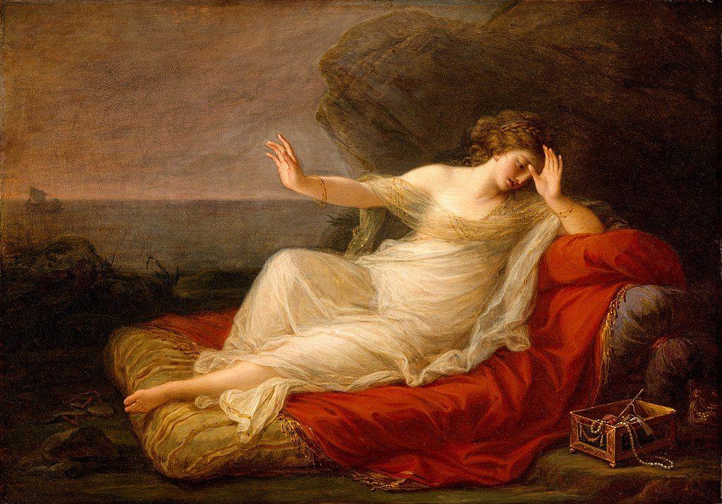 Ariadna abandonada por Teseo representada en una pintura de  Angelica Kauffmann