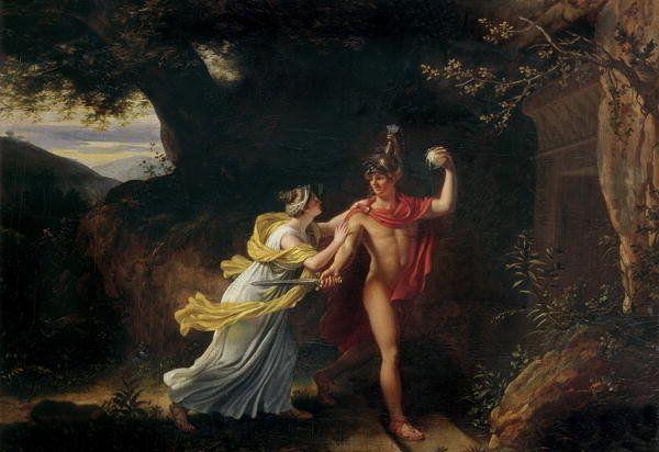 Ariadna y Teseo representados en una pintura de Jean Baptiste Regnault