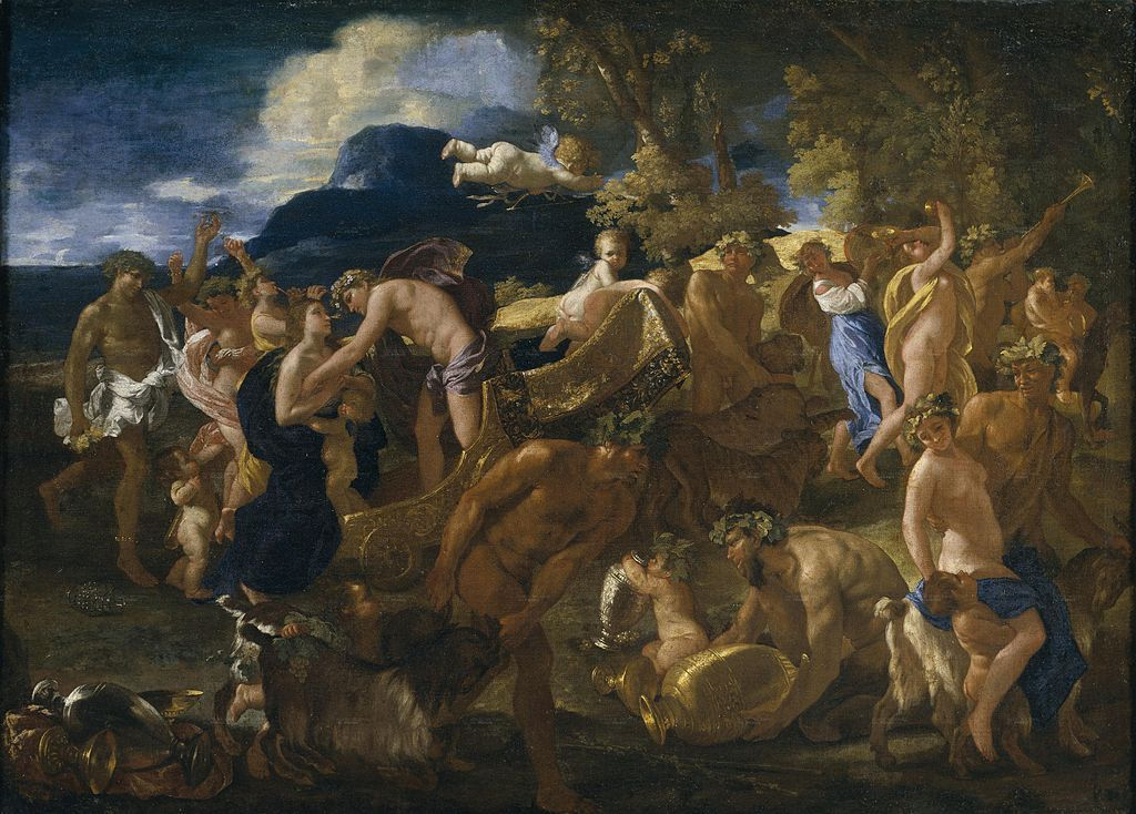 Pintura de Nicolas Poussin, en la que se representa a Dionisio invitando a Ariadna a subir a su carruaje.