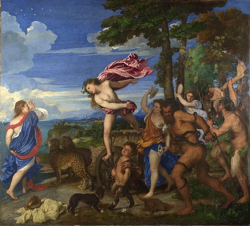 Baco y Ariadna de Tiziano. En esta se puede ver a Ariadna tras ser abandonada por Teseo, su barco se ve a lo lejos, siendo abordada por Baco, que queda enamorado de la mujer, a la que regalo la constelación Corona Borealis, que se puede ver posa sobre la cabeza de Ariadna.