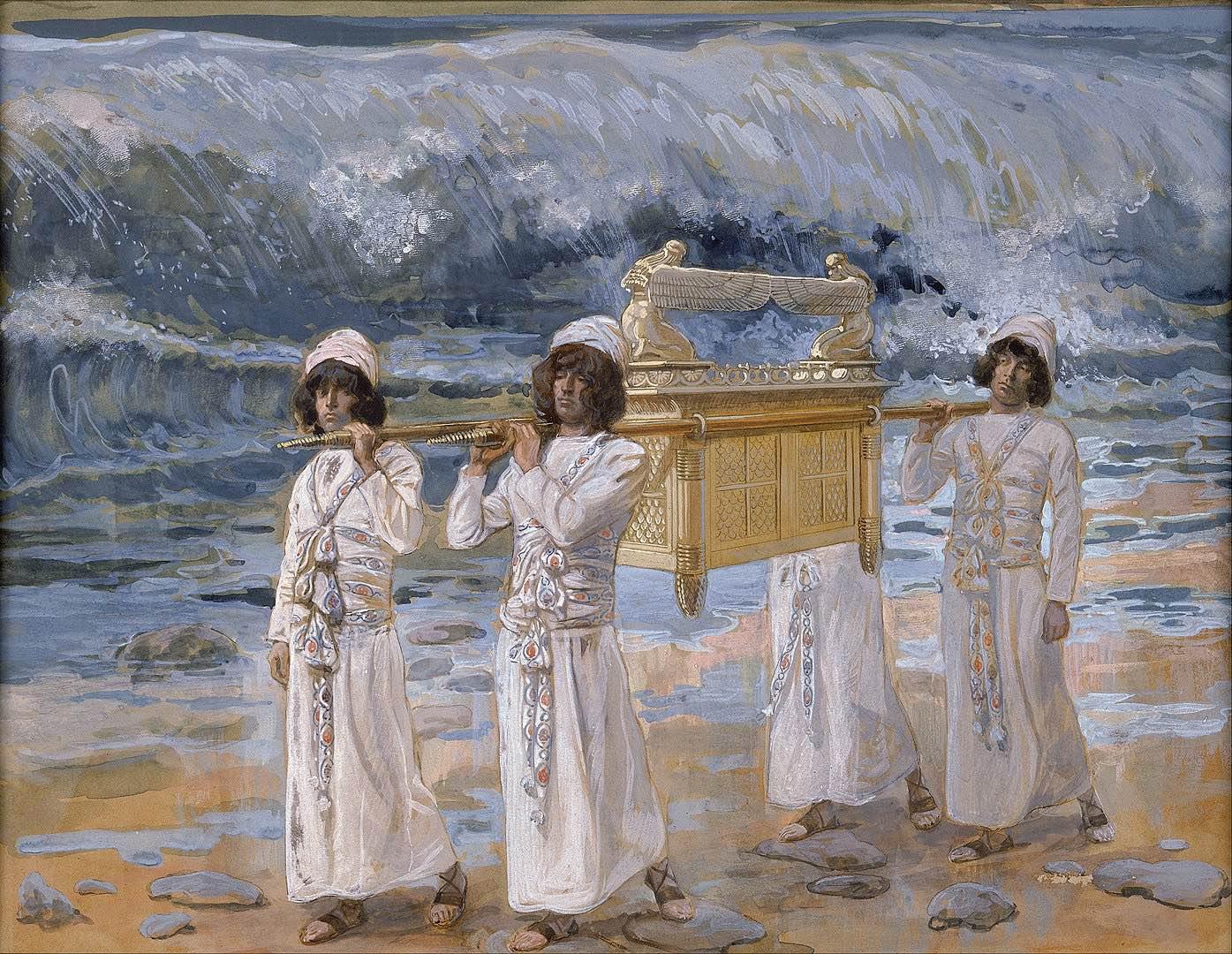 El Arca de la Alianza pasando a través del río Jordan. Pintura de James Jacques Joseph Tissot