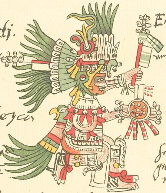 """Huitzilopochtli descrito en el codice Telleriano-Remensis Dominio público, <a href=""""https://commons.wikimedia.org/w/index.php?curid=1761816"""">Enlace</a>"""