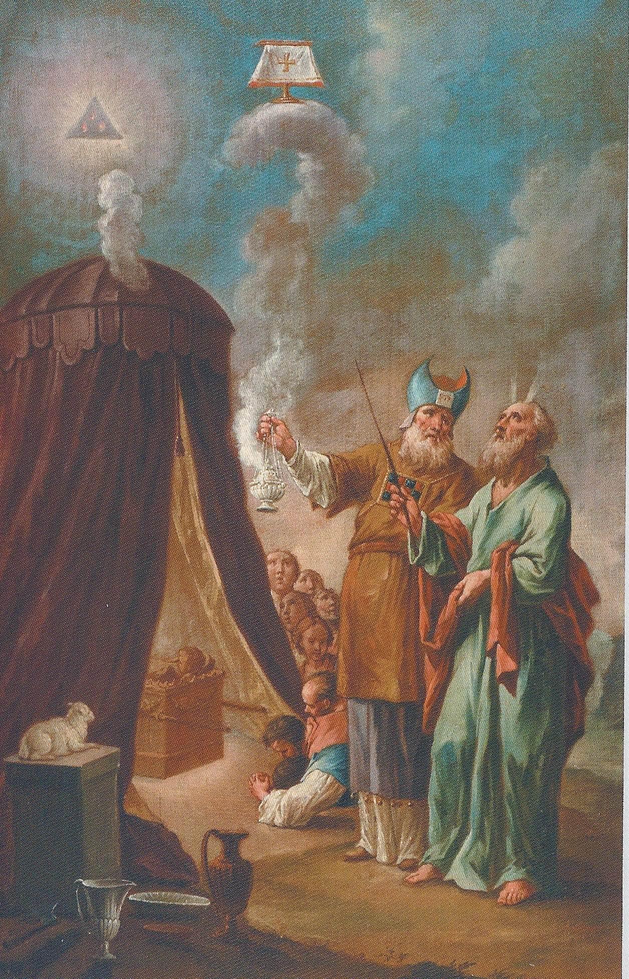 Tabernaculo con el Arca en su interior, se puede ver a Moises y Aaron fuera del mismo. Pintura de Leopold Layer.