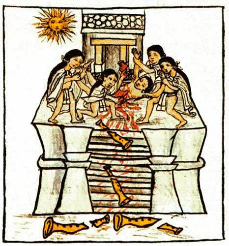 "Sacrificio humano a Tezcatlipoca Huitzilopochtli presente en el Códice Florentino De Bernardino de Sahagún - Florentine Codex Vol.1 book 2 f.30r, Dominio público, <a href=""https://commons.wikimedia.org/w/index.php?curid=39897338"">Enlace</a>"