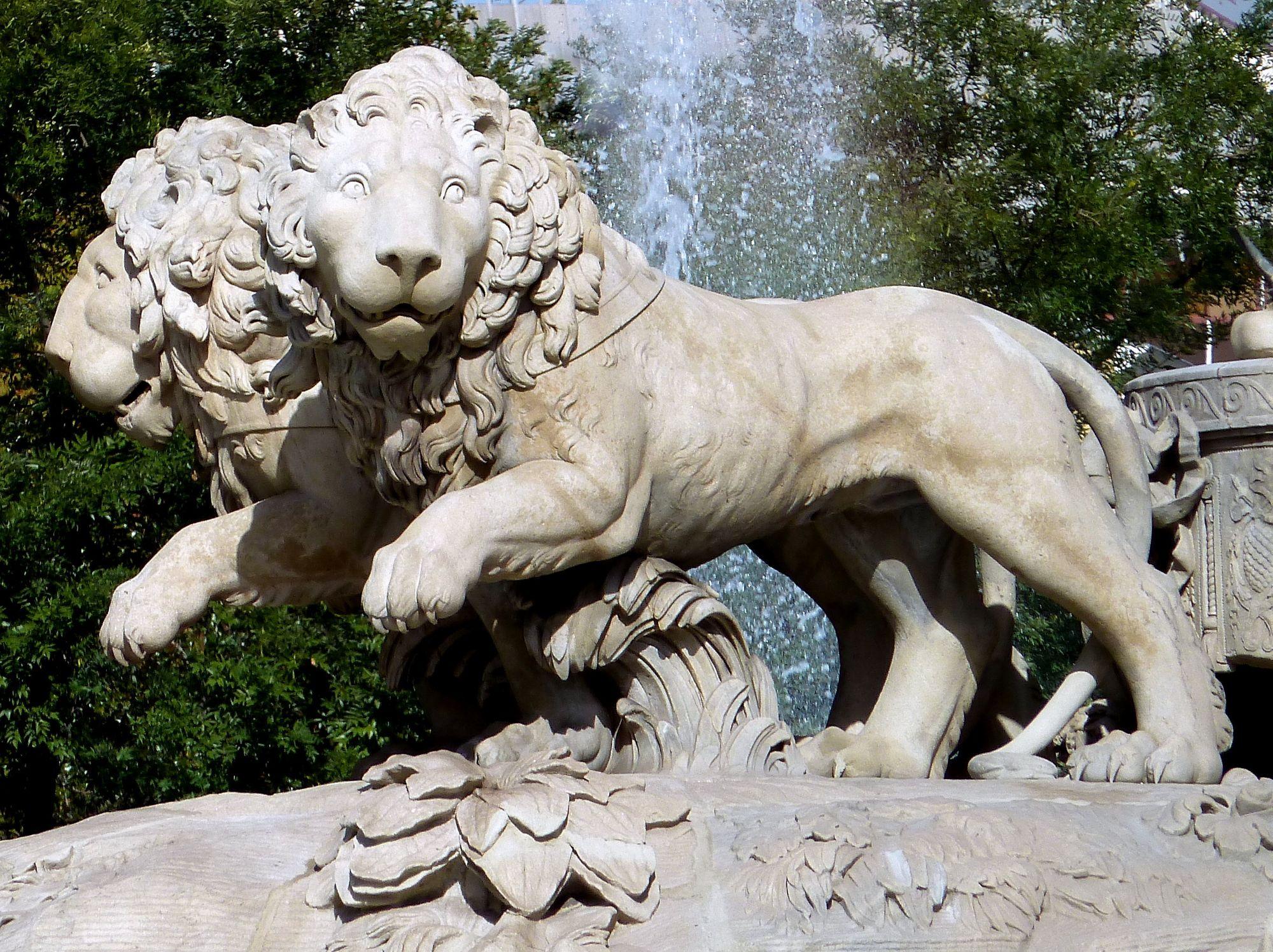 Atalanta e Hipómenes fueron transformados en leones tras enfadar a Afródita, los griegos creían que los leones no se pareaban entre si. En la imagen Atalanta e Hipómenes tirando de la carroza de la diosa Cibeles.