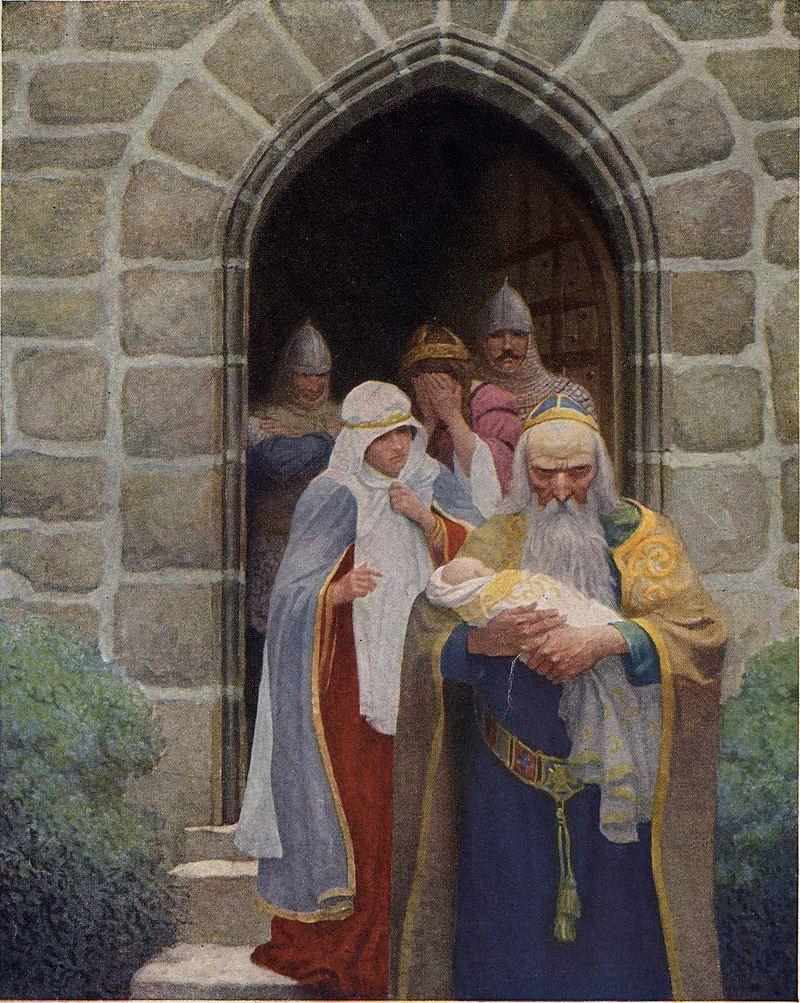 El Rey Uther e Ygraine entregan a Artur recién nacido al mago Merlín. Pintura de NC Wyeth.