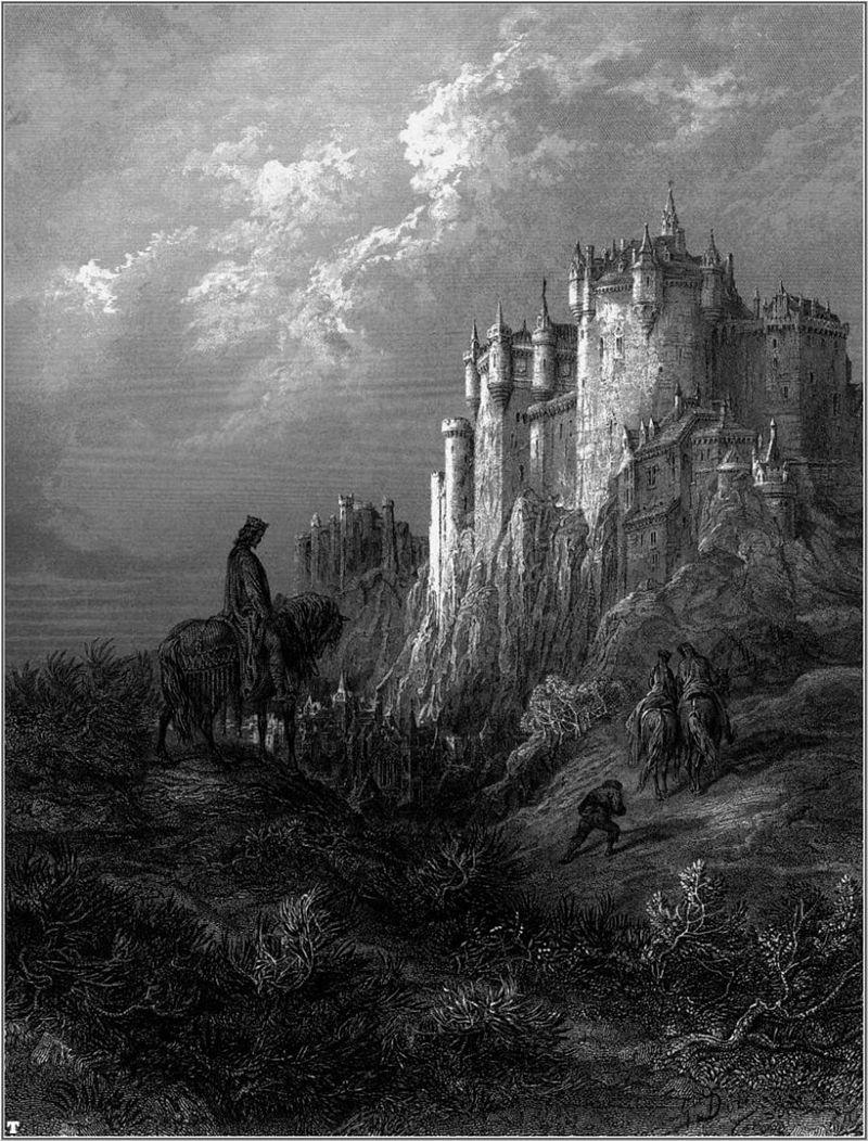 Ilustración de Camelot, la sede de la corte del rey Arturo, realizada por Gustave Doré.