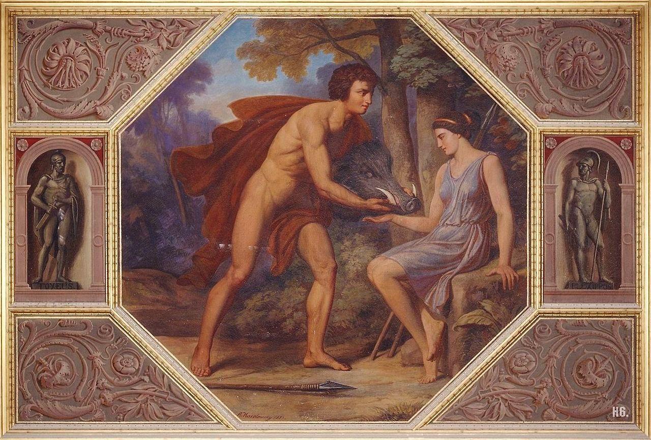Meleagro entrega a Atalanta la cabeza del jabalí de Caledonia, como premio tras su caceria, algo que provocaría la muerte del pirncipe, debido a que su tío no estaba de acuerdo con que una mujer recibiera el premio.